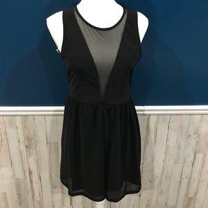 NWT H&M Divided Black Deep V Mesh Sexy Dress LBD